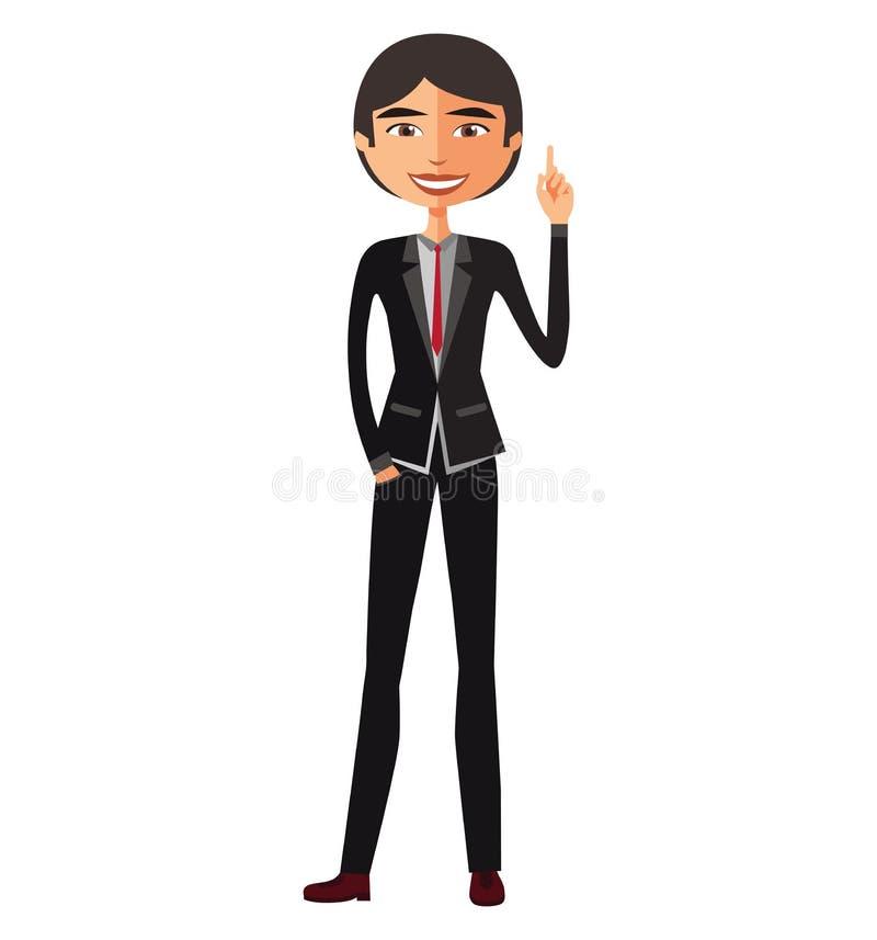Hombre de negocios asiático feliz con su concepto brillante IL del negocio de la idea ilustración del vector