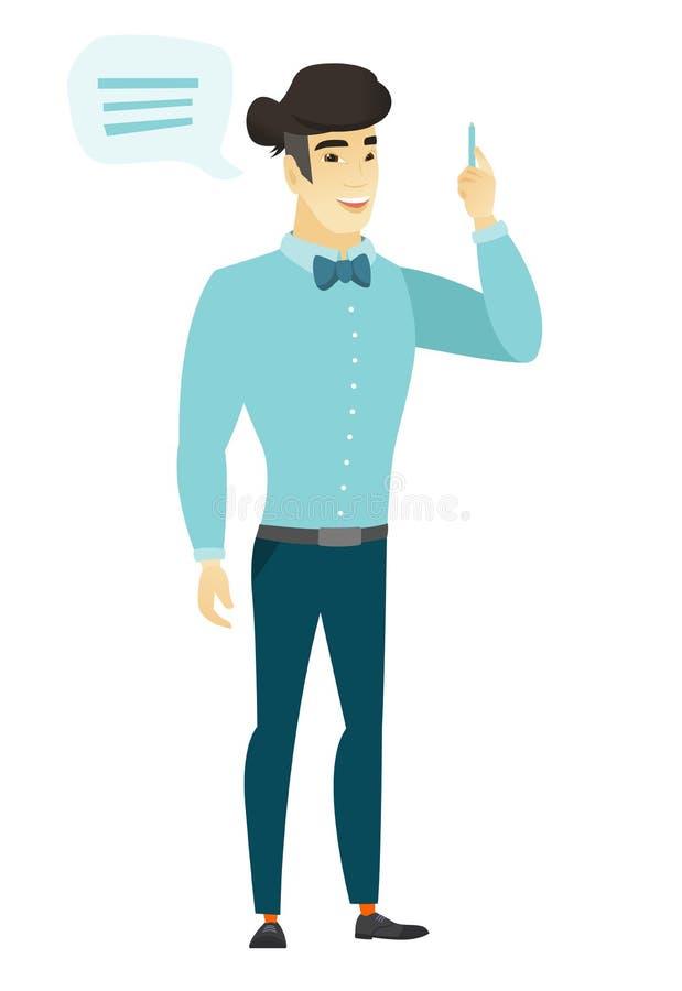 Hombre de negocios asiático joven con la burbuja del discurso stock de ilustración