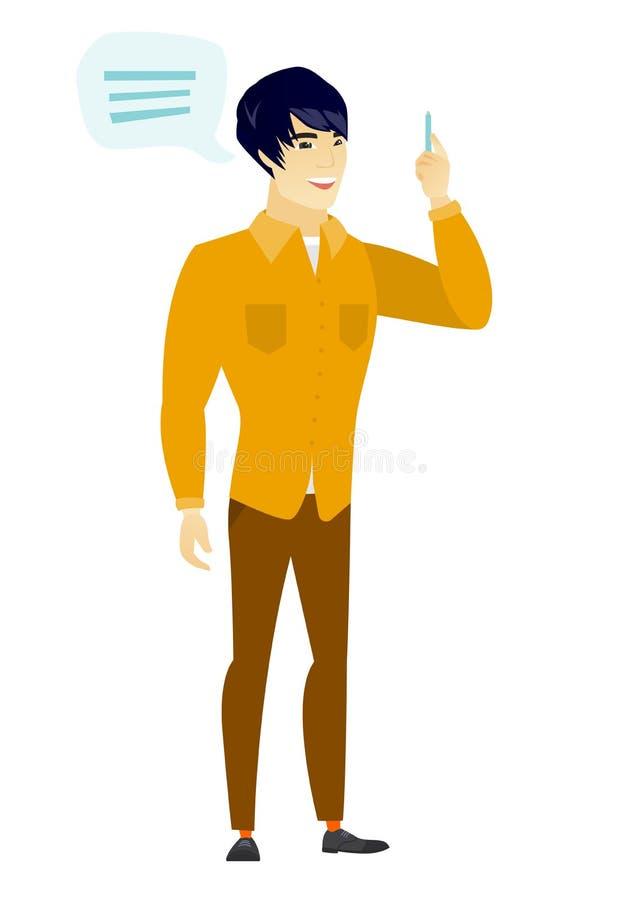 Hombre de negocios asiático joven con la burbuja del discurso libre illustration