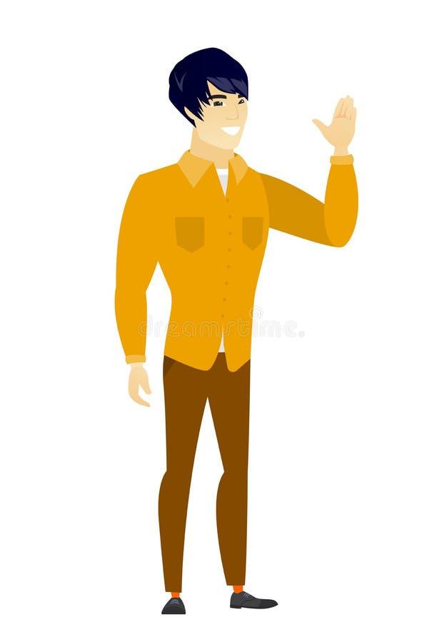 Hombre de negocios asiático joven que agita su mano stock de ilustración