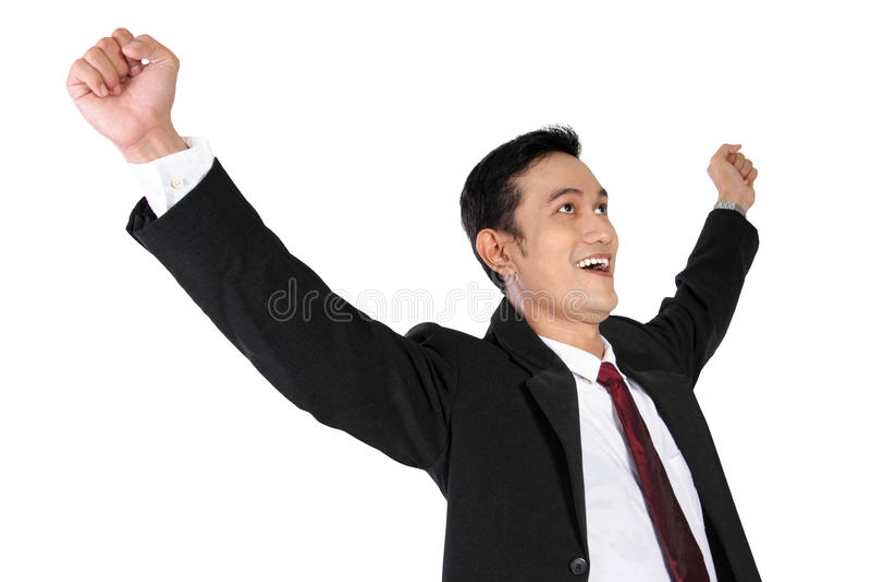 Hombre de negocios asiático joven que expresa la felicidad, aislada en blanco imagen de archivo