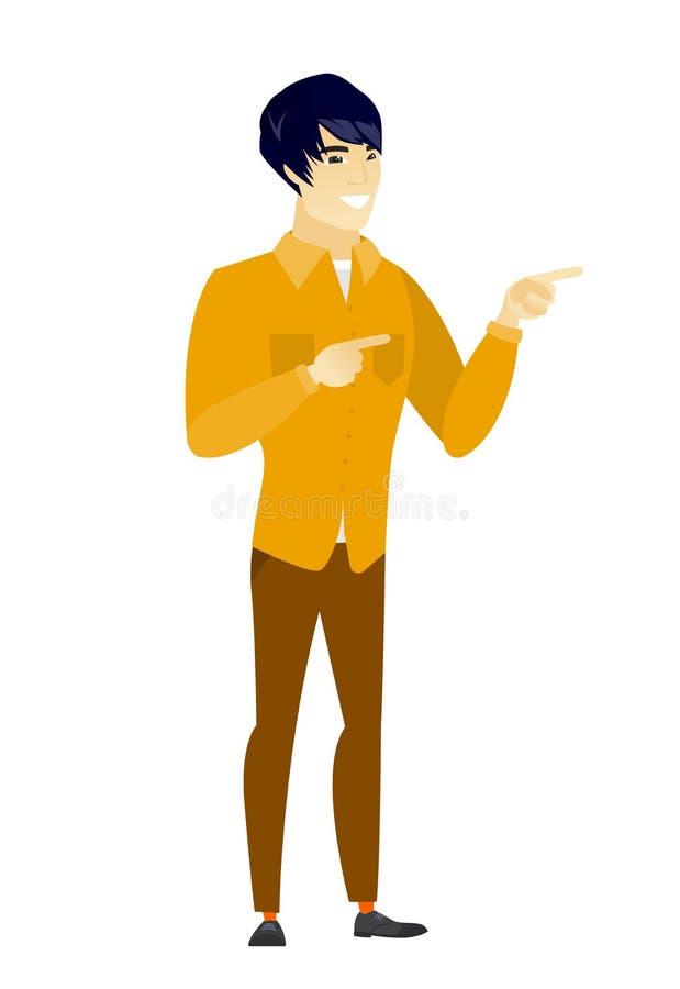 Hombre de negocios asiático joven que señala al lado libre illustration