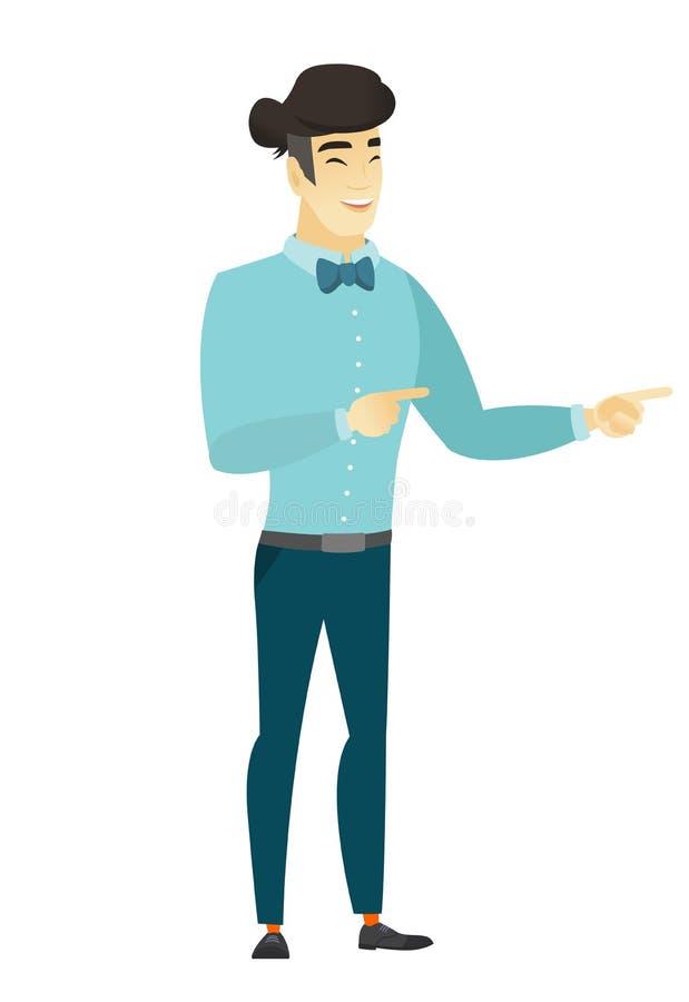 Hombre de negocios asiático joven que señala al lado ilustración del vector