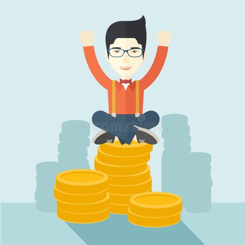 Hombre de negocios asiático orgulloso ilustración del vector
