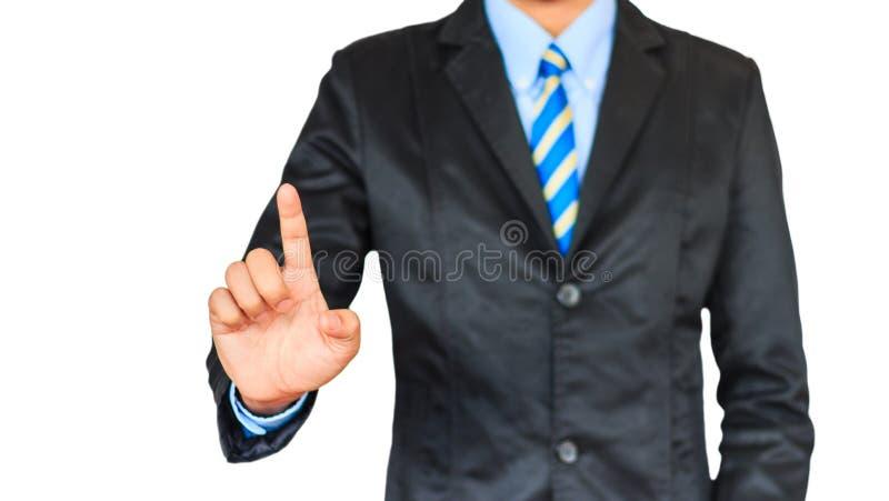 Hombre de negocios asiático que empuja en un interfaz de la pantalla táctil imagen de archivo