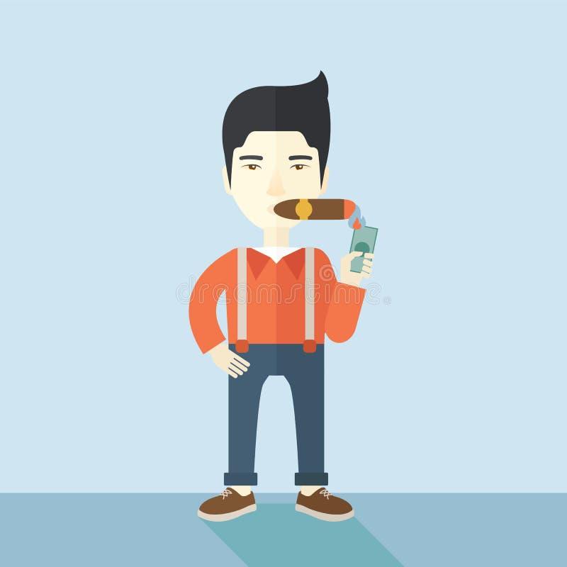 Hombre de negocios asiático que enciende el tabaco de cigarro libre illustration