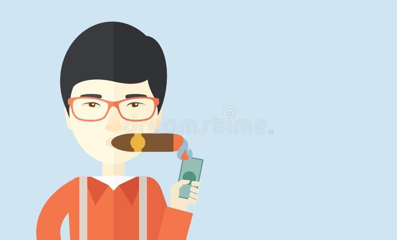 Hombre de negocios asiático que enciende el tabaco de cigarro ilustración del vector