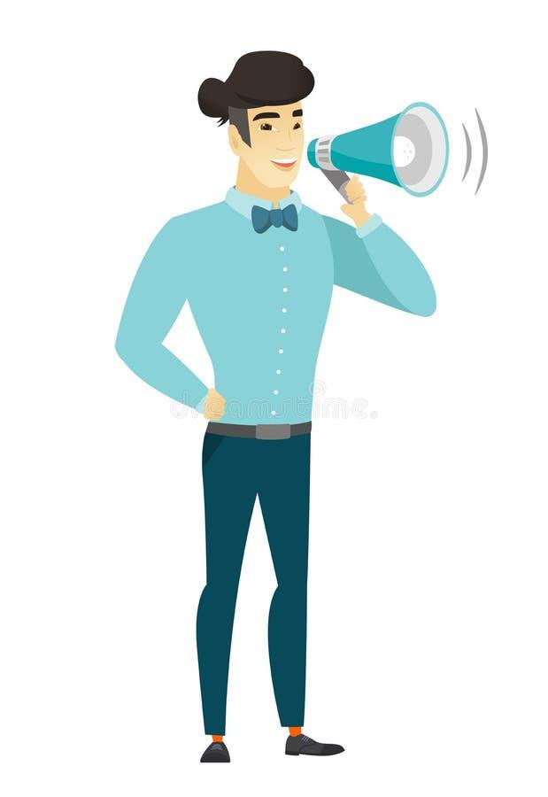 Hombre de negocios asiático que habla en el altavoz libre illustration