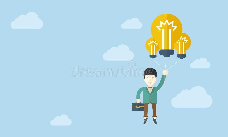 Hombre de negocios asiático que lleva una cartera con el bulbo ilustración del vector
