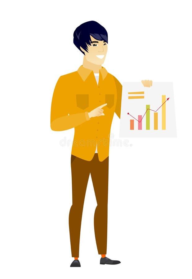 Hombre de negocios asiático que muestra la carta financiera ilustración del vector