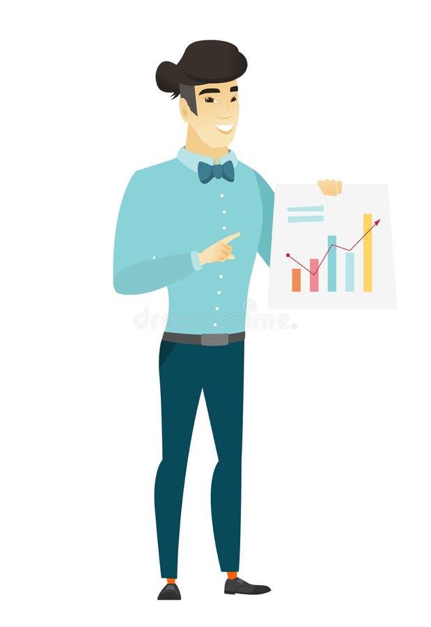 Hombre de negocios asiático que muestra la carta financiera stock de ilustración