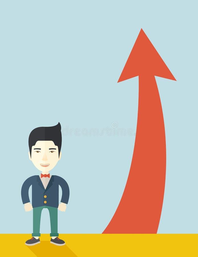 Hombre de negocios asiático que se coloca al lado del arrrow rojo libre illustration