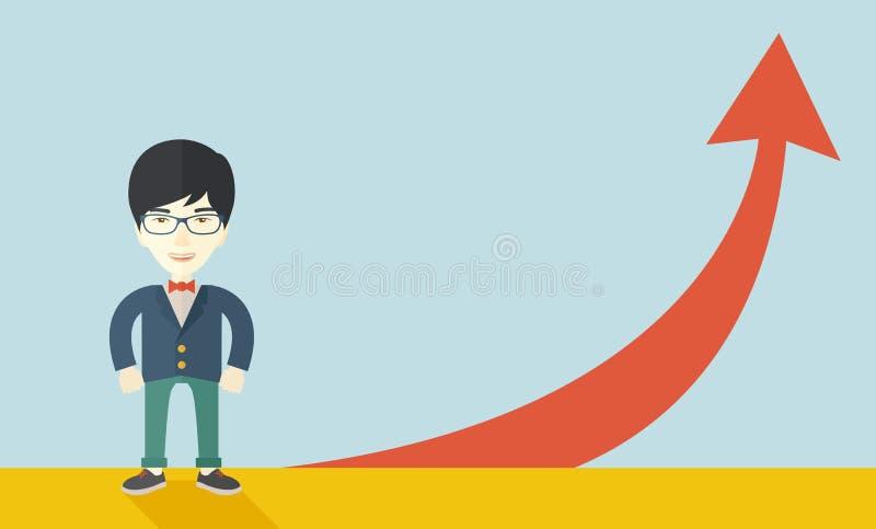 Hombre de negocios asiático que se coloca al lado del arrrow rojo stock de ilustración