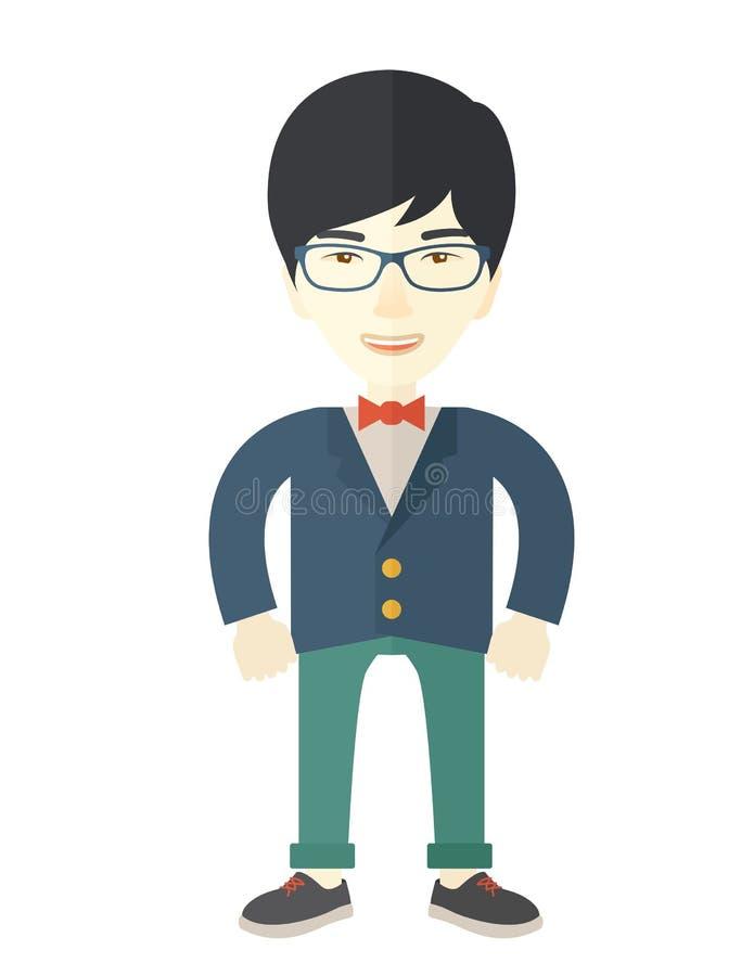 Hombre de negocios asiático que se coloca derecho ilustración del vector