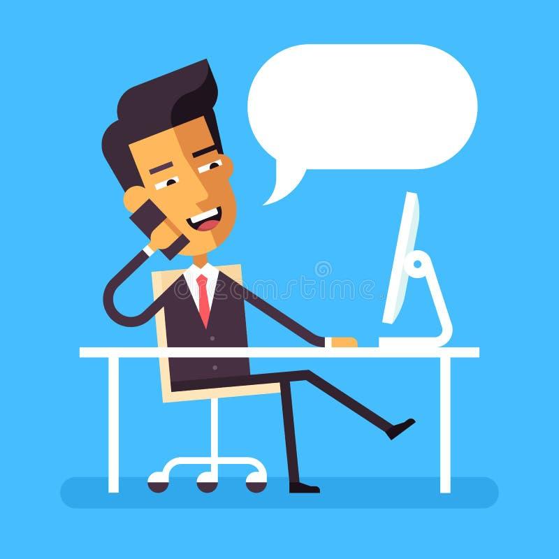 Hombre de negocios asiático que se sienta en el escritorio y que habla en el teléfono stock de ilustración