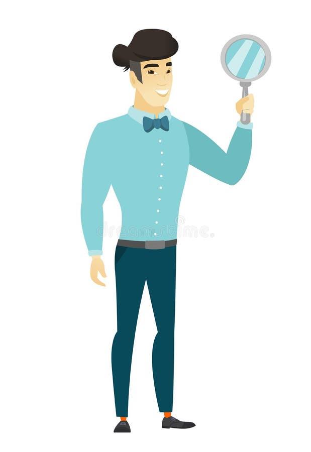 Hombre de negocios asiático que sostiene el espejo de mano stock de ilustración