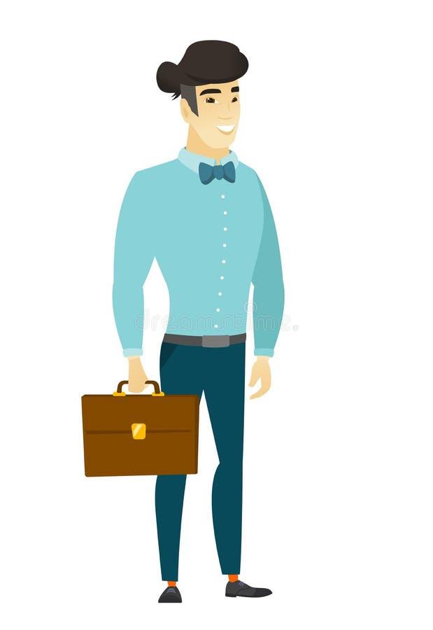 Hombre de negocios asiático que sostiene la cartera libre illustration