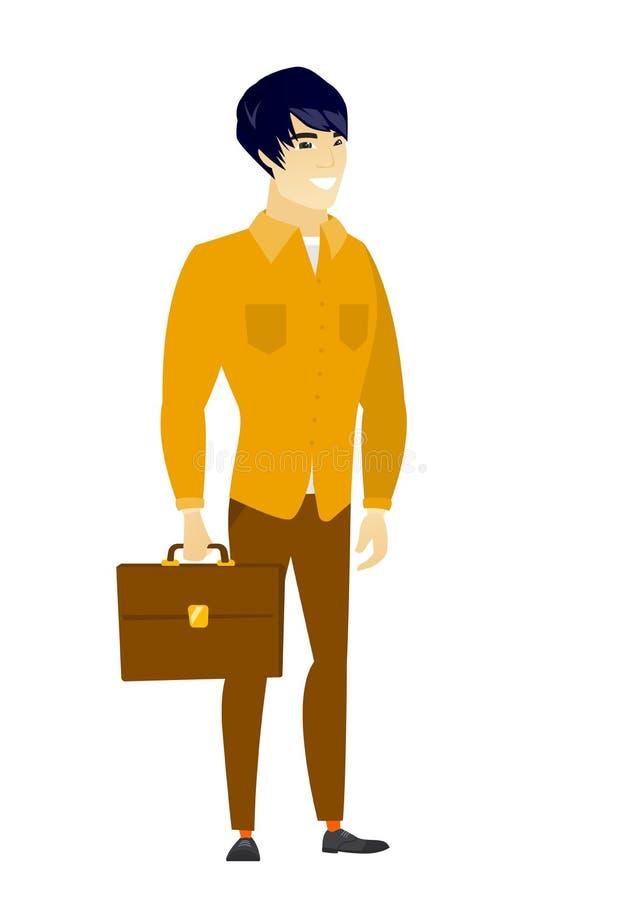 Hombre de negocios asiático que sostiene la cartera stock de ilustración