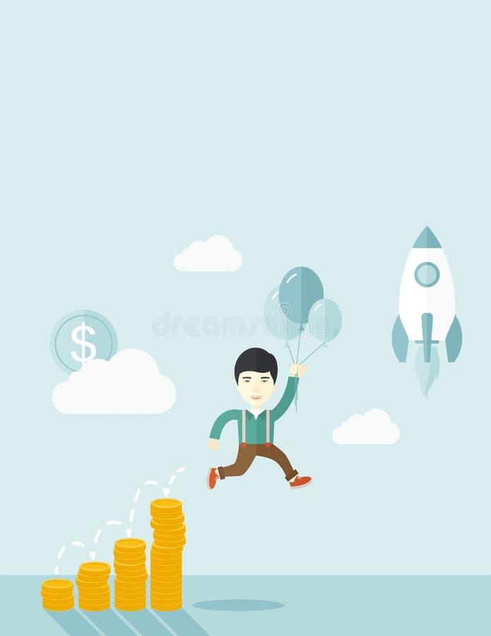Hombre de negocios asiático que sostiene los globos libre illustration