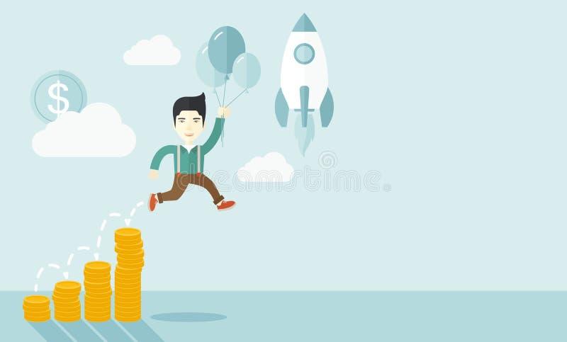 Hombre de negocios asiático que sostiene los globos stock de ilustración