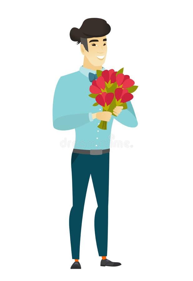 Hombre de negocios asiático que sostiene un ramo de flores stock de ilustración