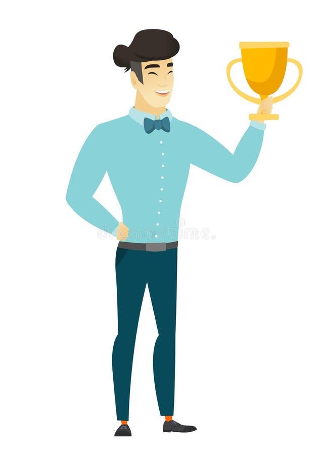 Hombre de negocios asiático que sostiene un trofeo libre illustration