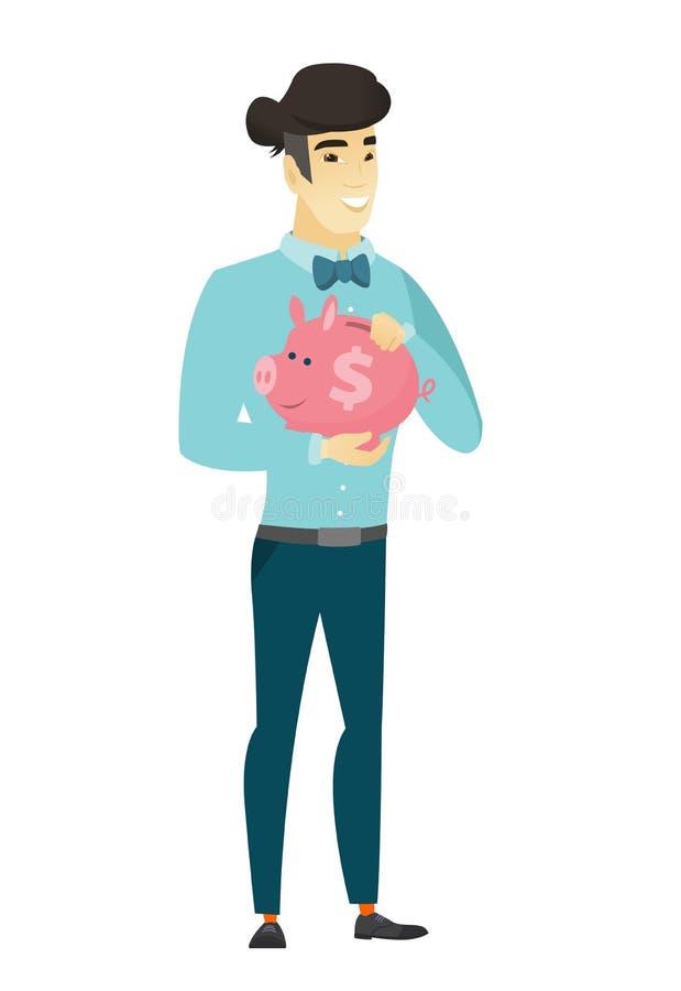 Hombre de negocios asiático que sostiene una hucha stock de ilustración