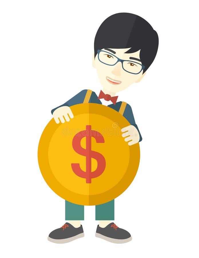 Hombre de negocios asiático que sostiene una moneda grande libre illustration