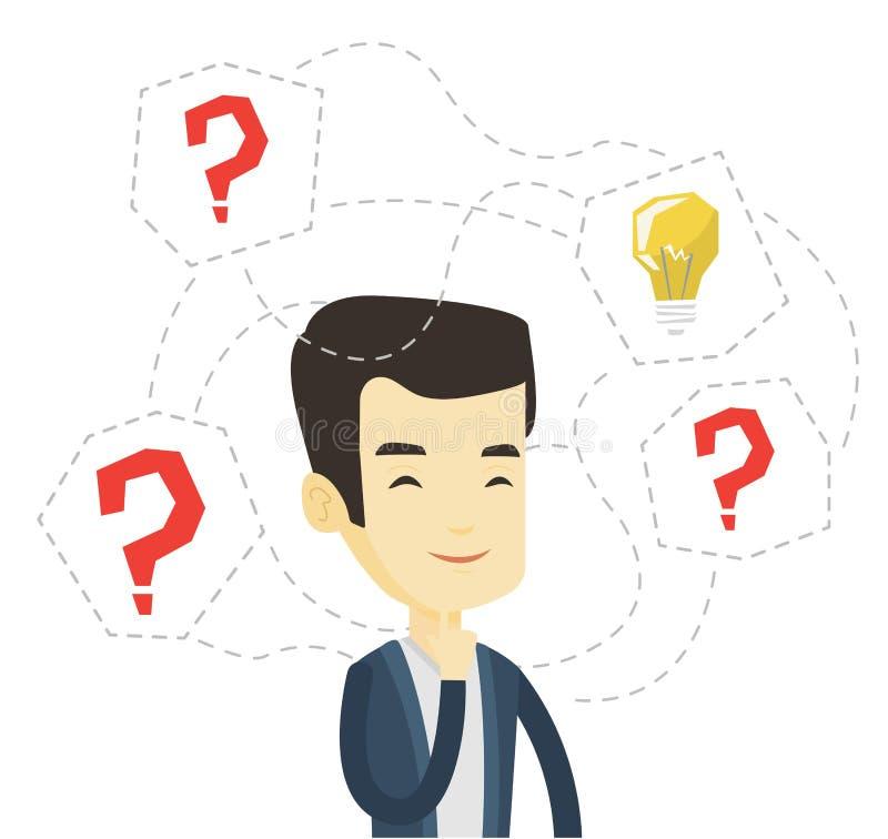 Hombre de negocios asiático que tiene idea del negocio ilustración del vector