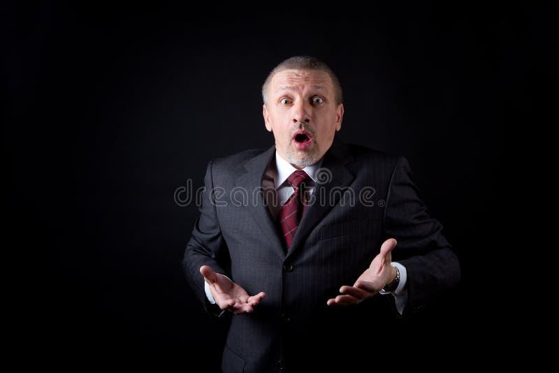 Hombre de negocios asustado fotografía de archivo