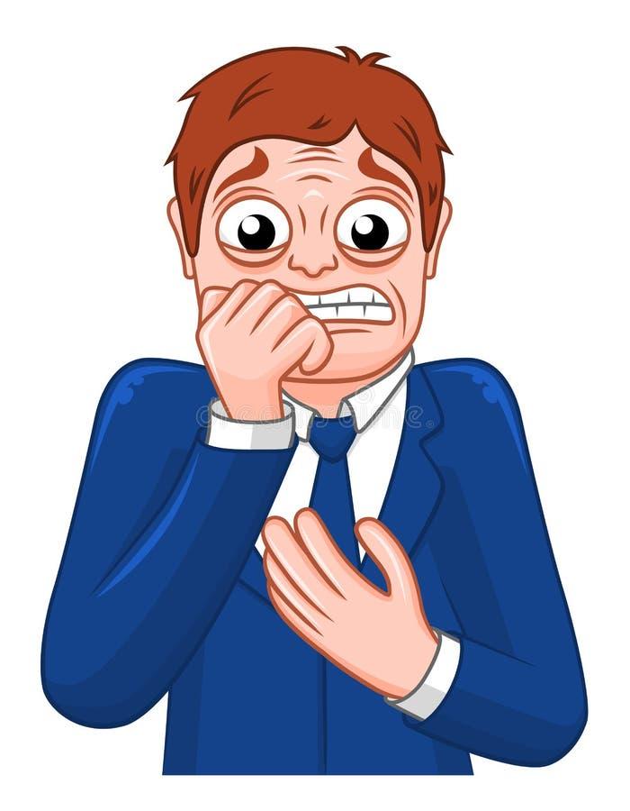 Hombre de negocios asustado historieta ilustración del vector