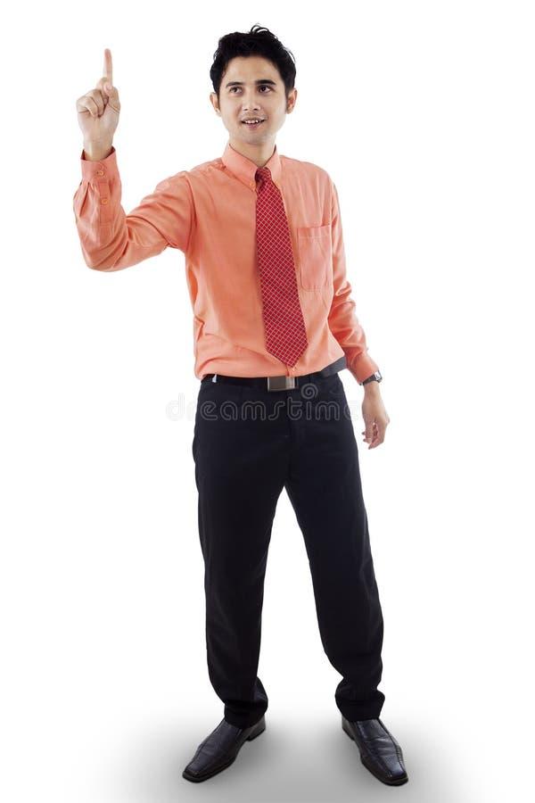 Hombre de negocios atractivo que consigue una idea fotografía de archivo