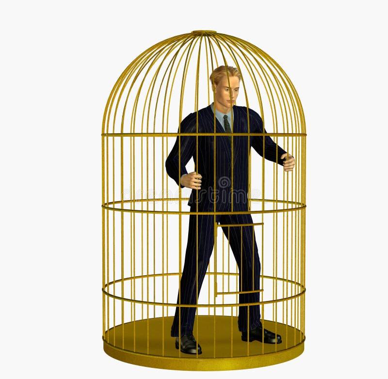 Hombre de negocios atrapado en jaula - incluye el camino de recortes ilustración del vector