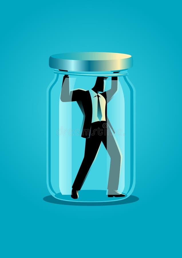Hombre de negocios atrapado en un tarro ilustración del vector