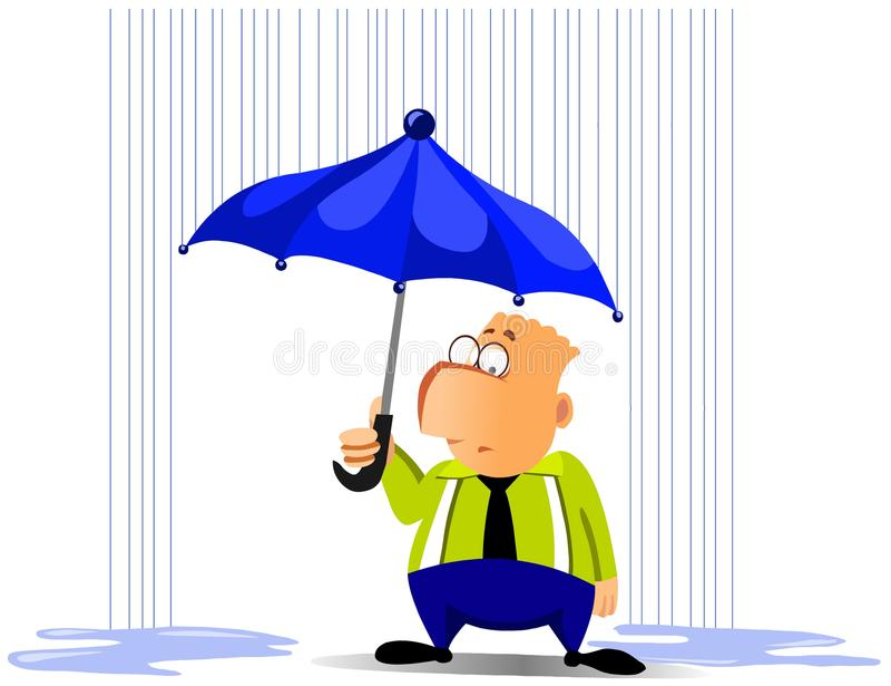 Hombre de negocios bajo el paraguas stock de ilustración