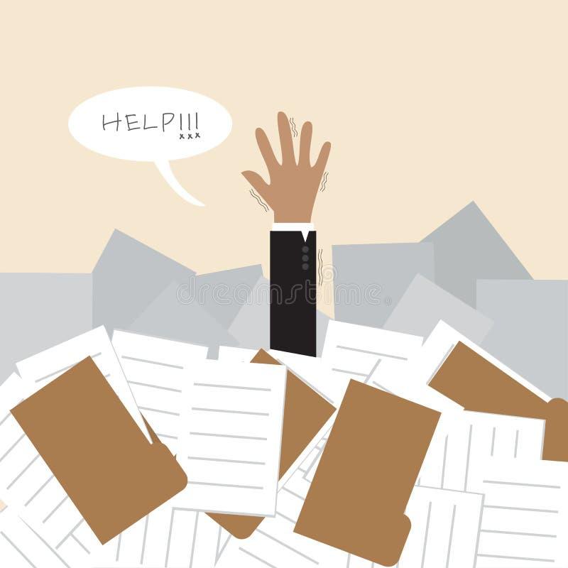 Hombre de negocios bajo mucho documento y llamada para h ilustración del vector