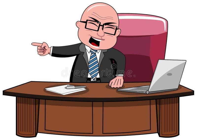 Hombre de negocios Bald Cartoon Angry Boss Desk stock de ilustración
