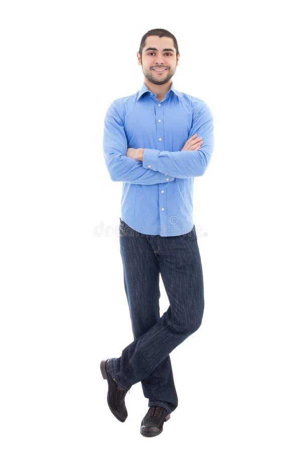 Hombre de negocios barbudo árabe joven en la camisa azul aislada en pizca fotos de archivo libres de regalías