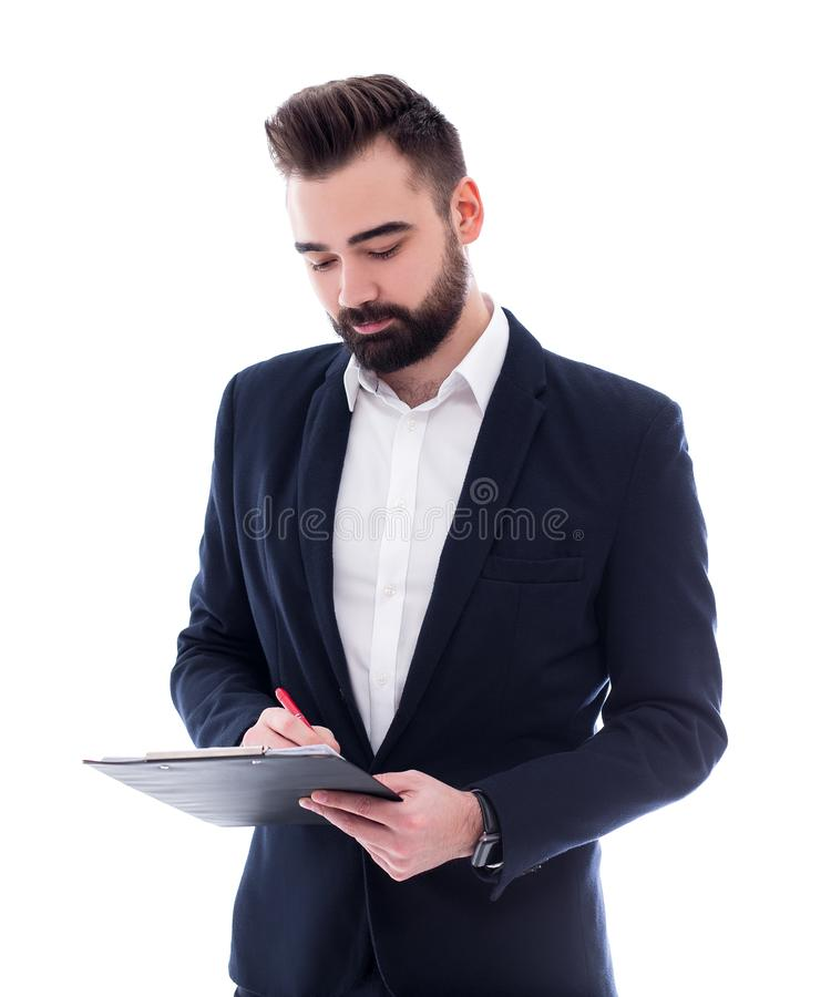 Hombre de negocios barbudo hermoso joven con el tablero aislado en blanco foto de archivo