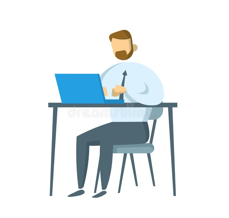 Hombre de negocios barbudo que se sienta en su lugar de trabajo Encargado que trabaja en un ordenador portátil Ejemplo plano del  ilustración del vector