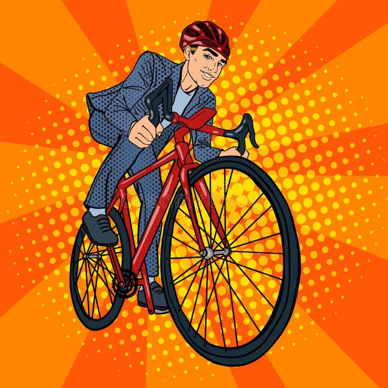 Hombre de negocios On Bicycle Hombre de negocios que monta una bicicleta Arte pop stock de ilustración