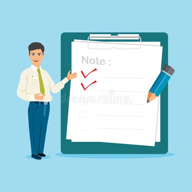 Hombre de negocios With Big Clipboard y ejemplo del vector de la lista de control libre illustration