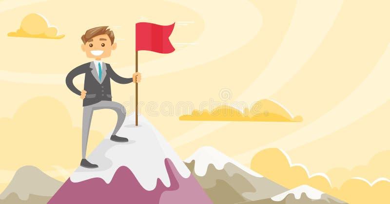 Hombre de negocios blanco caucásico alegre joven del líder stock de ilustración