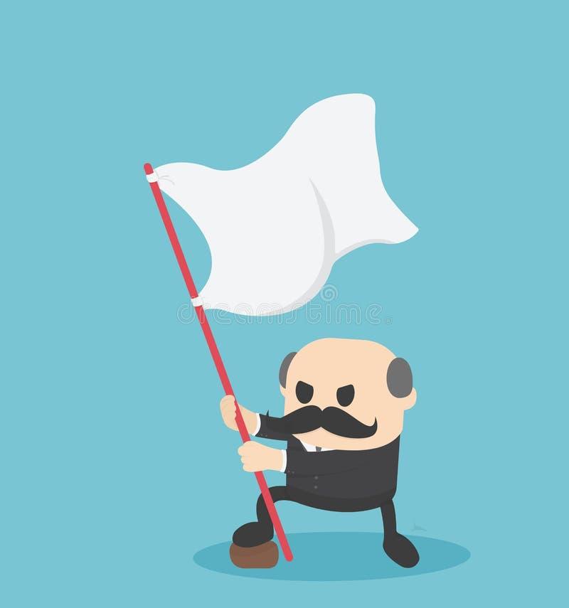 Hombre de negocios de Boss que lleva a cabo la situación de la bandera del éxito stock de ilustración