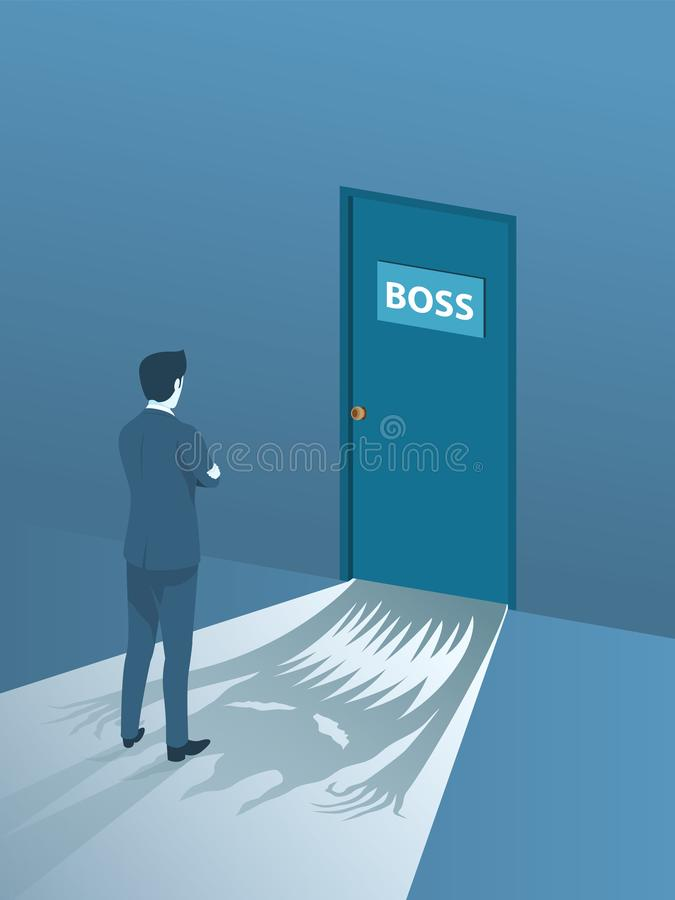 Hombre de negocios Brave Standing Front de Boss Room stock de ilustración