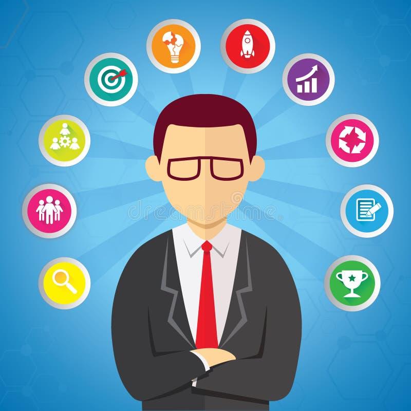 Hombre de negocios With Business Ideas del nivel superior ilustración del vector