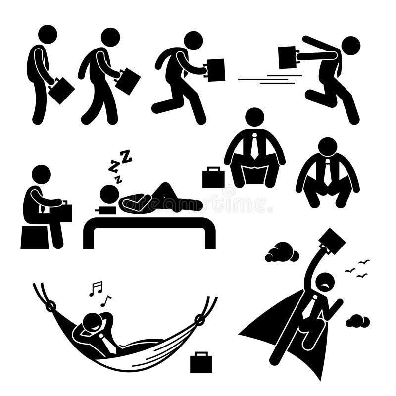 Hombre de negocios Business Man Actions Cliparts stock de ilustración