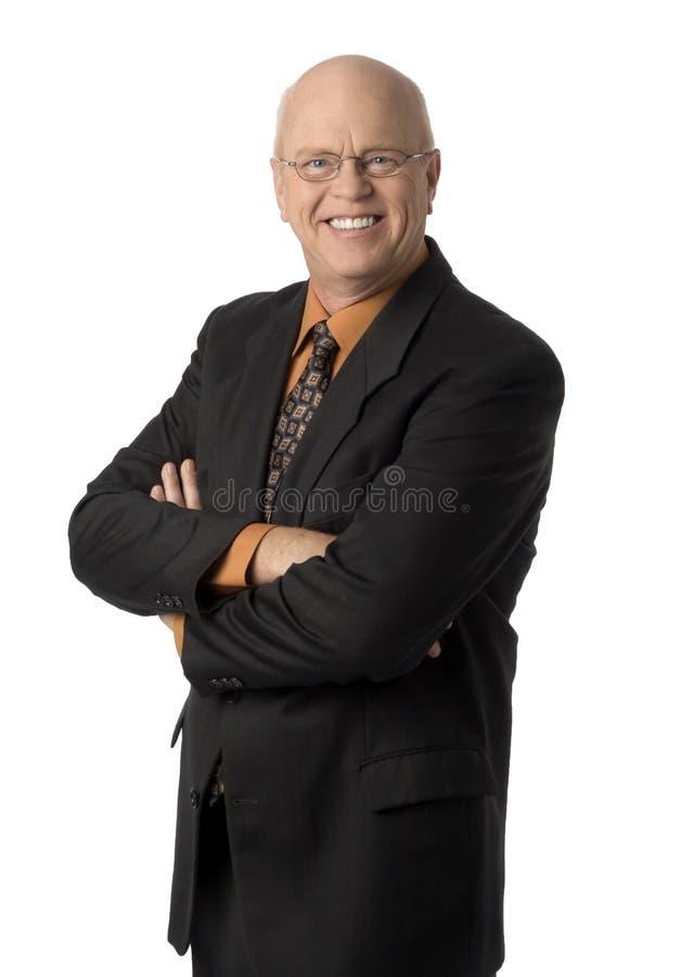 Hombre de negocios cómodo en blanco foto de archivo