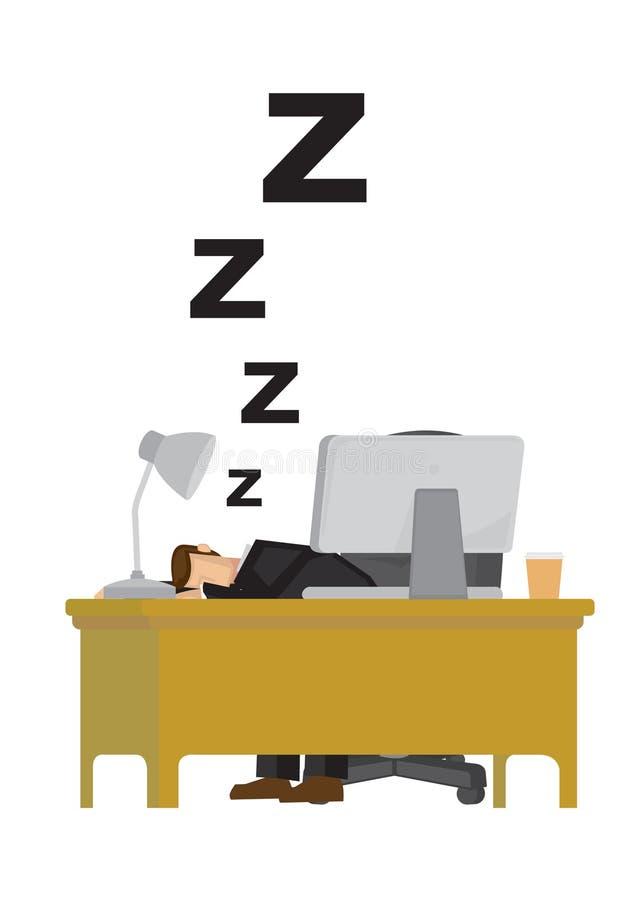 Hombre de negocios cansado agotado y que duerme en el escritorio de oficina ronquido ilustración del vector