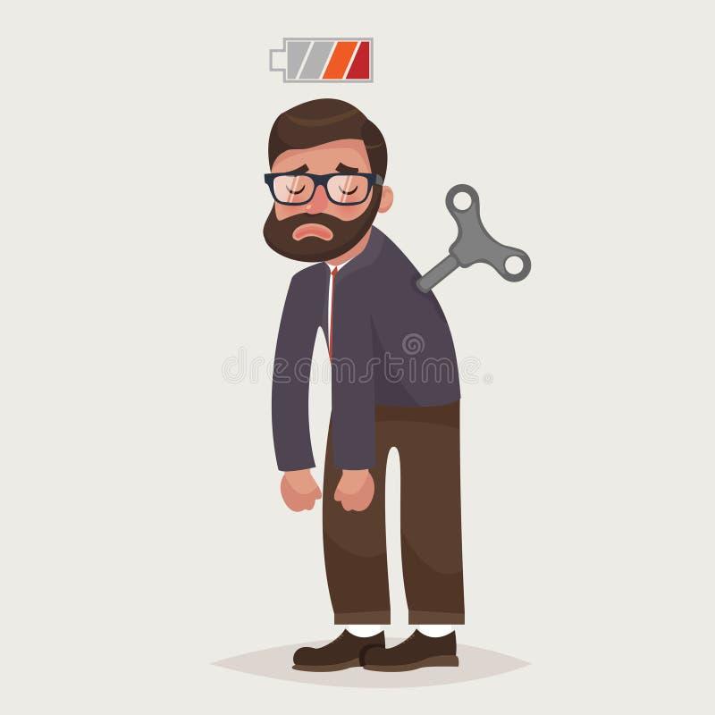 Hombre de negocios cansado con llave del mecanismo y la bater?a vac?a La energ?a de la falta para hacer el trabajo ilustración del vector